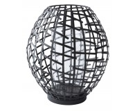 Schwarz Metall- Glas- H 21,0cm- D 19,0cm- 1- Stck.- Matt