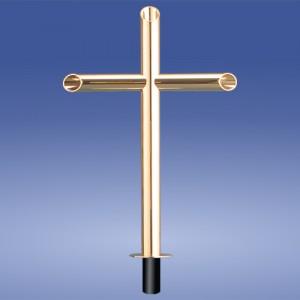 Kreuz Rohr Messing vergoldet