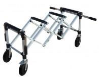 Scherenwagen, 4 abklappbare Griffe, oben mit Laufwalzen für einfaches auf- und abladen