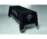 Katafalkdecke 150x300cm Wolltuch schwarz bestickt mit Palme und Kreuz, Fransen
