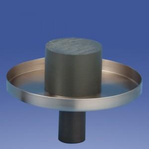 Kerzenteller gebürstet mit Rand 9 oder 15cmØ wählbar, Oberseite glatt, mit Dorn oder mit Zapfen für unsere Nylonkerzen