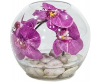 NATURAL ILLUSION Glasvase, 20/20 cm, Orchidee pink, helle Steine